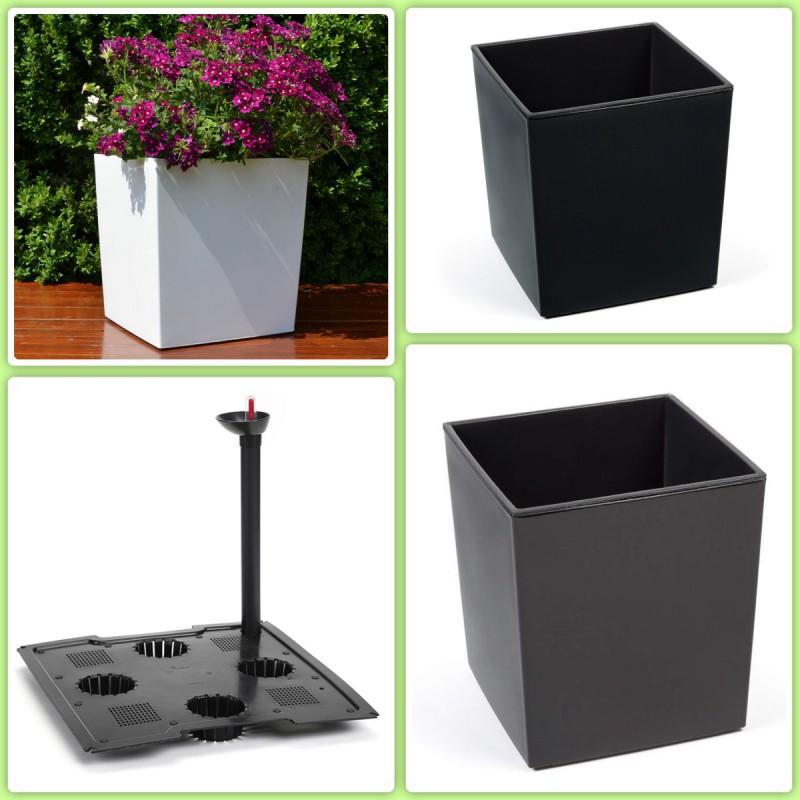 schwarz Blumentopf Einsatz H:41cm Blumenkübel Eckig Hochglanz Übertopf XXL